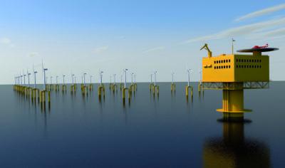 3-D-Illustration einer Offshore-Windkraftanlagen in ruhiger See